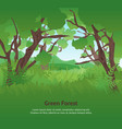 cartoon summer green forest landscape background vector image vector image
