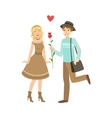 Couple In Love Man Presenting A Rose vector image vector image