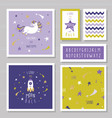 cute cards with unicorn and gold glitter stars vector image vector image