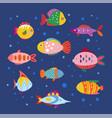 cute geometric fish freshwater aquarium fishes vector image vector image