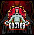 doctor with corona virus esport mascot logo vector image
