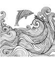 dolphin and ocean waves coloring page for children vector image