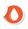 drop icon orange sticker vector image vector image