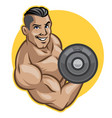 fitness men lifts barbell vector image