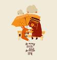 funny cartoon animals reading book under umbrella vector image vector image