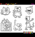 funny cat characters coloring book vector image vector image