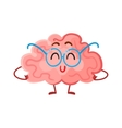 Funny smiling brain in round glasses symbol of vector image vector image