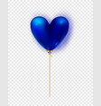 glossy blue air balloon in heart form of vector image