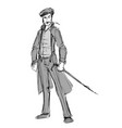 graphic man in flat cap with walking stick sketch vector image