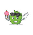 green apple character cartoon with ice cream vector image vector image
