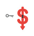 icon concept of key and dollar symbol with vector image