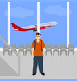 man at the international airport vector image vector image