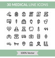 medical line icons for healthcare symbol vector image vector image