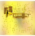 music background with a trumpet and notes vector image vector image