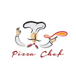 pizza chef cartoon vector image vector image