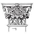 roman-corinthian pilaster capital a leaf and vector image vector image