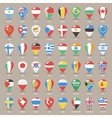 Set of Flat Map Pointers With World States Flags vector image