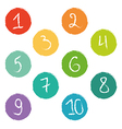 Set of ten colorful numerical circles vector image