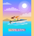 summertime poster boating activity summer vector image