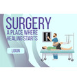 surgery banner place where healing starts vector image vector image