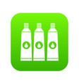 three tubes with paint icon digital green vector image vector image