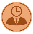 time manager bronze coin vector image vector image
