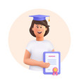 young woman jane - student in graduation cap and vector image
