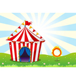A circus tent and the ring with fire vector image vector image