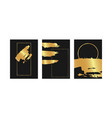 abstract golden brush element with geometric lines vector image