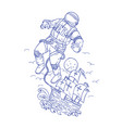 astronaut tethered caravel ship drawing vector image vector image
