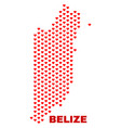 belize map - mosaic of love hearts vector image vector image
