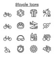 bicycle icon set in thin line style vector image
