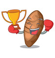 boxing winner sliced taro on shape cartoon funny vector image vector image