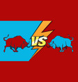 bulls and versus sign battle or fight emblem vector image vector image