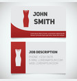 business card print template with evening dress vector image vector image