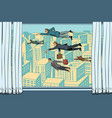 businessmen fly past the window vector image vector image
