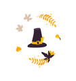 cartoon pilgrim hat and fall autumn leaves vector image vector image