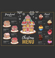 christmas menu design with sweet gingerbread house vector image
