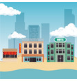 cityscape buildings scene icons vector image