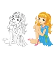 Coloring Book Of Girl Sitting vector image vector image