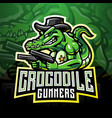 crocodile gunners esport mascot logo vector image vector image