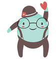 Cute Alien Drawing with a Love Heart vector image vector image