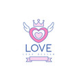 cute line logo design heart with wings and crown vector image vector image