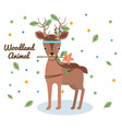 deer woodland animal with feather crown vector image vector image