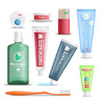dental care products realistic set vector image vector image