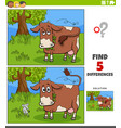 differences educational task for kids with cow vector image vector image