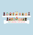 dogs wearing christmas costume holding banner vector image