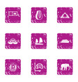 elite rest icons set grunge style vector image vector image