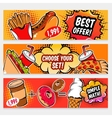 Food Comics Banner Set vector image