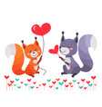 fox with heart shaped balloon and squirrel lovers vector image